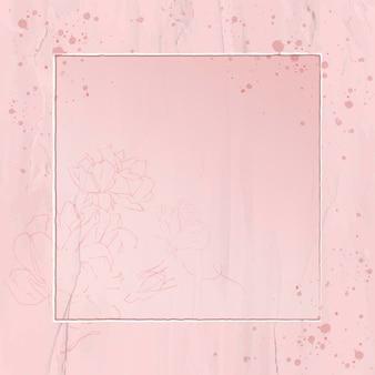 Cadre carré fleuri rose