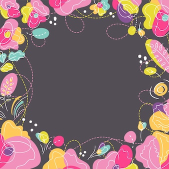 Cadre carré floral lumineux d'été. fleurs aux couleurs néon vives. fond sombre