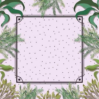 Cadre carré avec fond à base de plantes