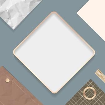 Cadre carré sur un fond de papier à lettres