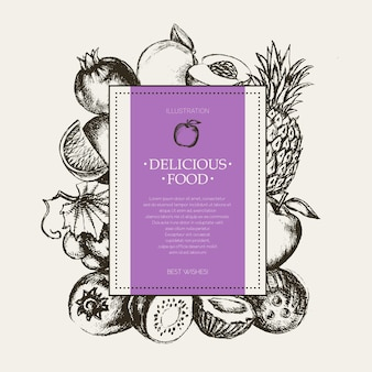 Cadre carré de fruits - illustration vectorielle moderne de conception dessinée à la main avec fond pour votre logo. raisins, cerises, ananas, fraise, noix de coco, pomme.