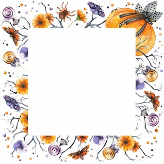 Cadre carré d'halloween avec des araignées et des papillons de fleurs d'automne gothiques de citrouille d'aquarelle