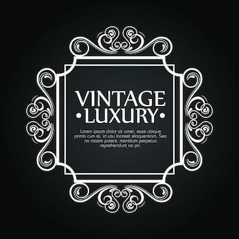 Cadre carré de luxe avec style d'ornement pour étiquette de vin, modèle de texte