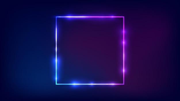 Cadre carré néon avec effets brillants sur fond sombre. toile de fond techno rougeoyante vide. illustration vectorielle.