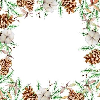 Cadre carré de noël aquarelle avec des branches de sapin et de pin d'hiver