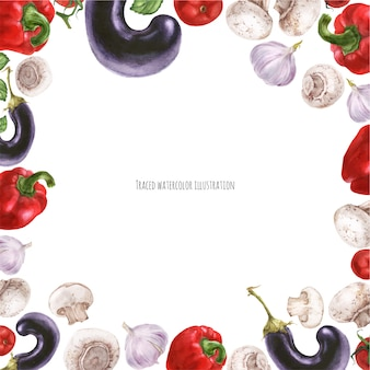 Cadre carré de nourriture végétalienne