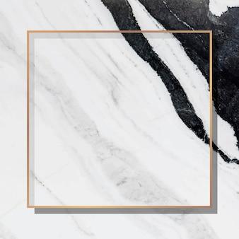 Cadre carré or sur fond de marbre blanc vecteur