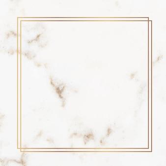Cadre carré en or sur un vecteur de marbre