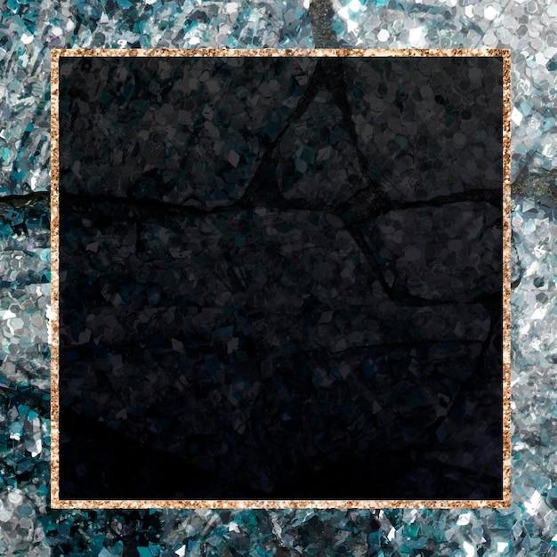 Cadre carré pailleté doré