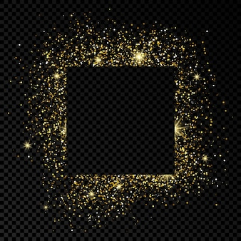 Cadre carré avec des paillettes dorées sur fond transparent foncé. fond blanc vide. illustration vectorielle.
