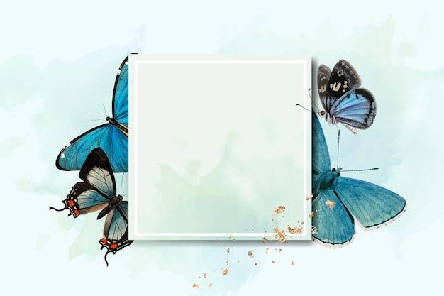 Cadre carré avec des papillons bleus