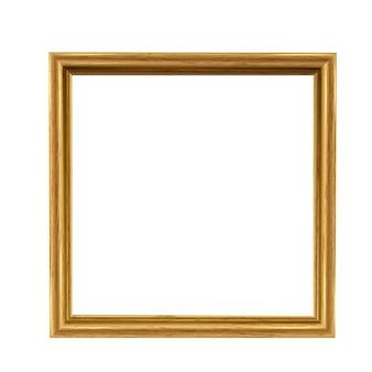 Cadre carré photo doré isolé