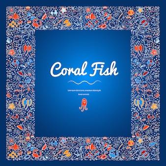 Cadre carré de poissons de haute mer, algues