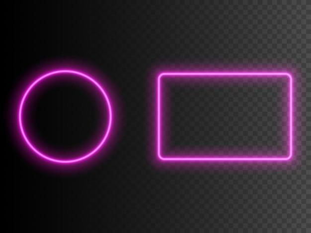 Cadre carré et rond néon.