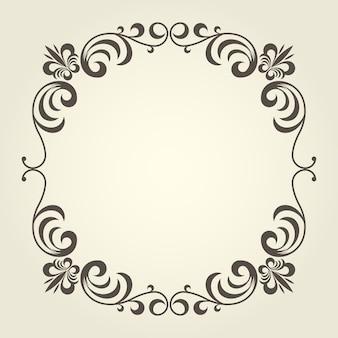 Cadre carré s'épanouir avec des bordures bouclées ornées