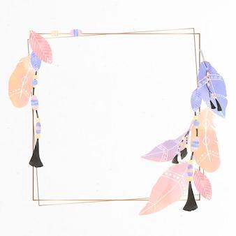 Cadre carré de style boho avec plumes