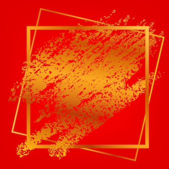 Cadre carré de vecteur et traînée de crayon doré pour la conception d'éléments liés à la lune sur fond rouge dégradé