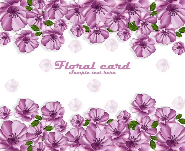 Cadre de carte affiche fleurs violettes. décor délicat
