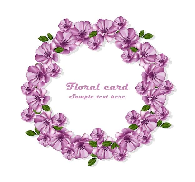 Cadre de carte de guirlande de fleurs violettes. décor délicat