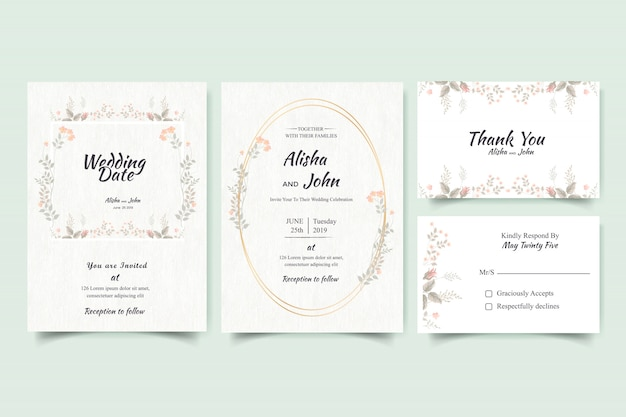 Cadre de carte d'invitation de mariage moderne floral