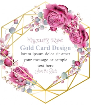 Cadre de carte en or avec aquarelle de fleurs roses