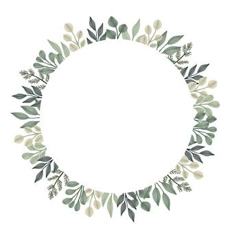 Cadre de cercle aquarelle de feuilles vertes. arrangement aquarelle feuilles cadre