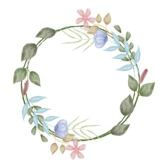 Cadre de cercle aquarelle fleur