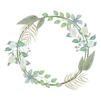 Cadre de cercle aquarelle floral vintage
