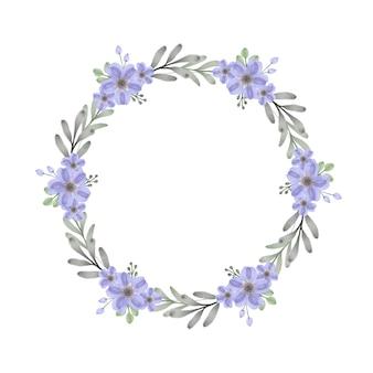 Cadre de cercle avec aquarelle florale violette et bleue