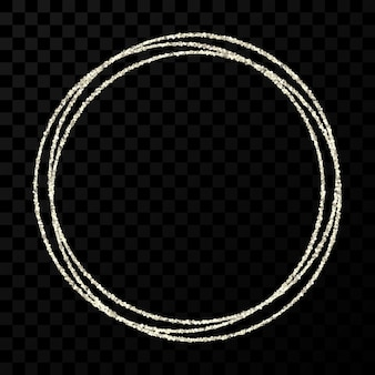 Cadre de cercle d'argent. cadre brillant moderne avec des effets de lumière isolés sur fond transparent foncé. illustration vectorielle.