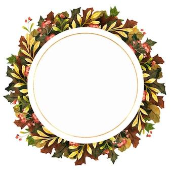 Cadre de cercle d'automne aquarelle avec feuilles d'automne baies et fleurs composition botanique ronde