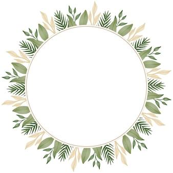 Cadre de cercle avec bordure de feuille verte et marron douce pour carte de mariage