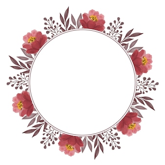 Cadre de cercle de bordure de feuilles et de bourgeons de roses rouges
