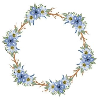 Cadre de cercle avec bouquet bleu et bordure de branche