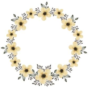 Cadre de cercle de bouquet de fleurs jaunes avec des fleurs jaunes aquarelles
