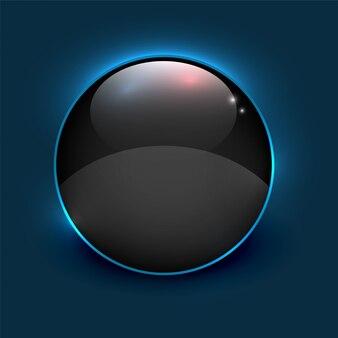 Cadre cercle brillant miroir noir sur fond bleu