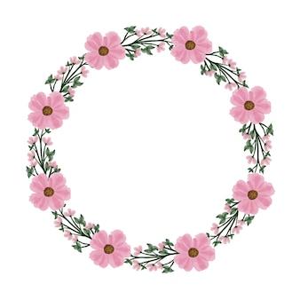 Cadre de cercle de couronne rose simple avec bordure de fleur rose et de feuille verte