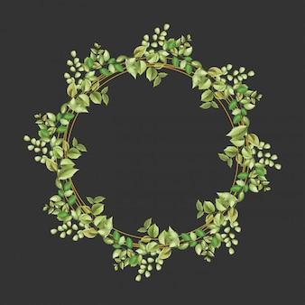 Cadre cercle décoratif avec ornement floral et feuilles