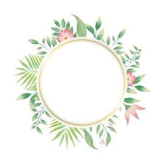 Cadre de cercle doré avec couronne de fleurs aquarelle colorée