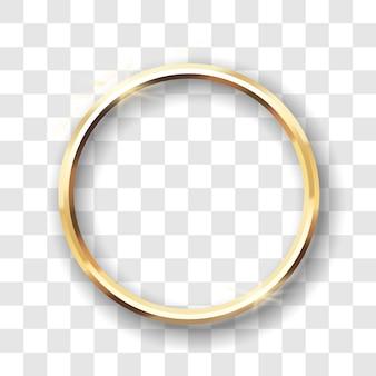 Cadre de cercle doré isolé