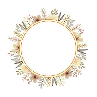 Cadre de cercle avec ensemble d'aquarelle florale jaune
