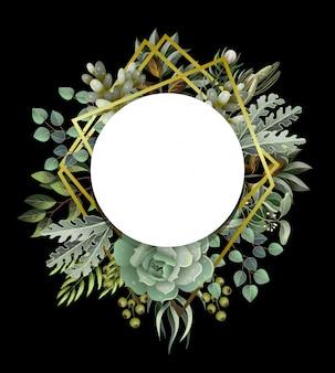 Cadre cercle avec feuilles, éléments succulents et dorés