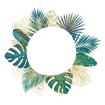 Cadre de cercle de feuilles tropicales