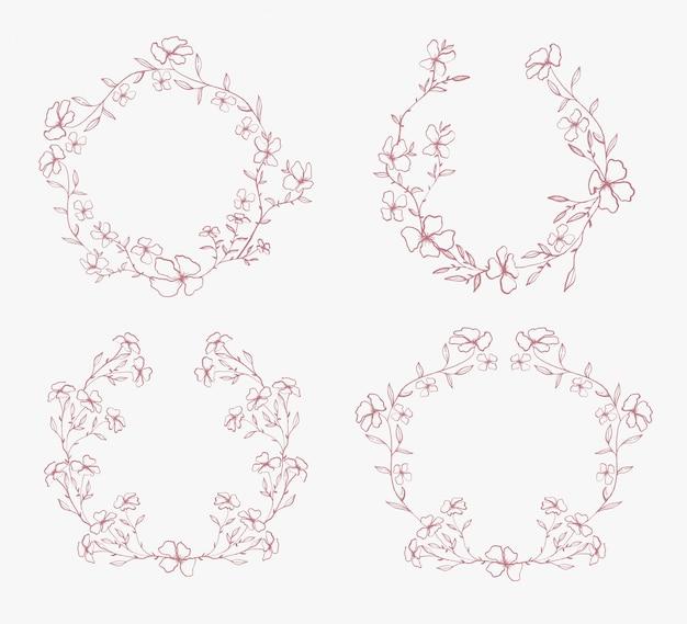Cadre de cercle de fleur de couronne de fleurs d'or printemps beauté premium