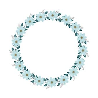 Cadre de cercle avec fleur et feuille vert pâle pour carte de voeux et de mariage