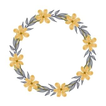 Cadre de cercle avec fleur jaune et feuille grise pour carte de voeux et de mariage