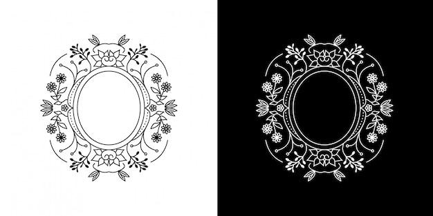 Cadre cercle fleur monoline vintage