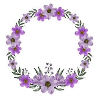 Cadre de cercle de fleur pourpre avec des fleurs violettes aquarelles