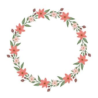 Cadre de cercle avec des fleurs oranges et une bordure de feuille verte pour carte de mariage