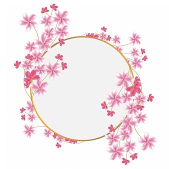 Cadre de cercle de fleurs de sakura à usages multiples